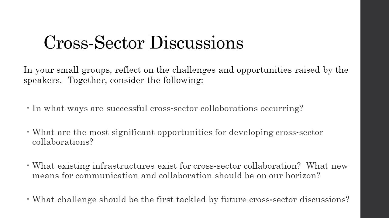 Cross-Sector Discussions In your small groups, reflect on the challenges and opportunities raised by the speakers. Together, consider the following: 