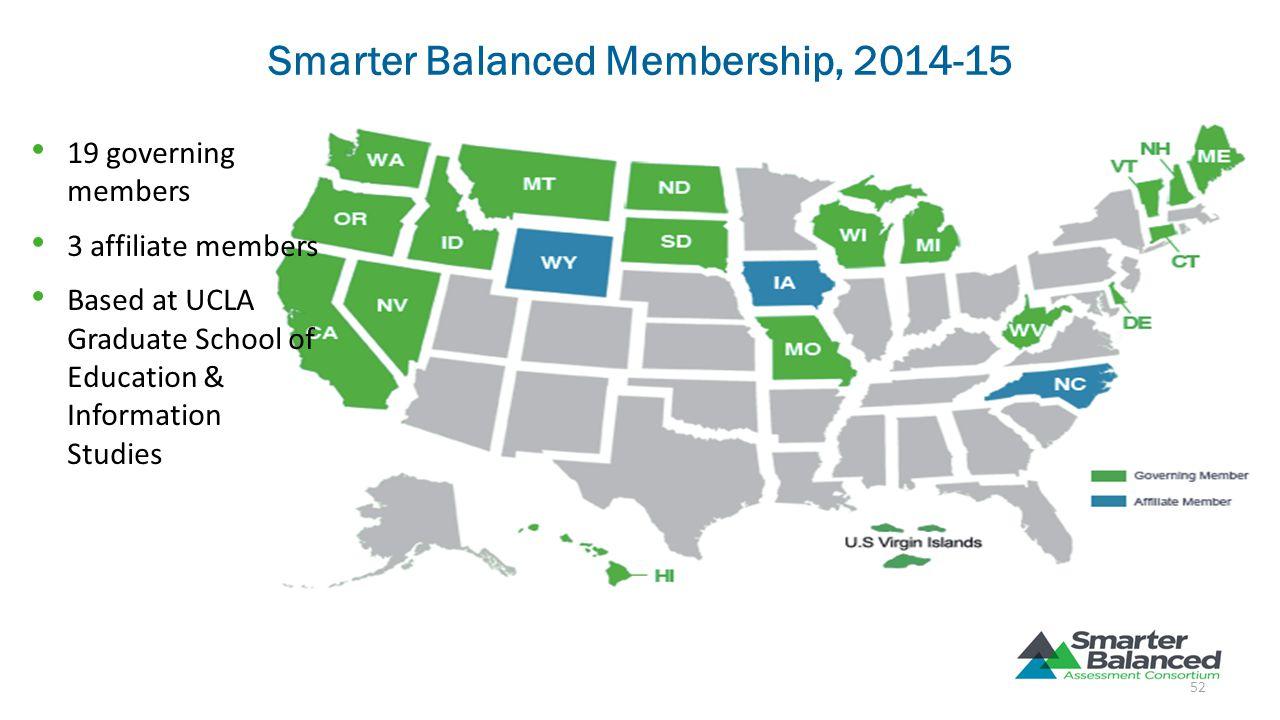 Smarter Balanced Membership, 2014-15 19 governing members 3 affiliate members Based at UCLA Graduate School of Education & Information Studies 52