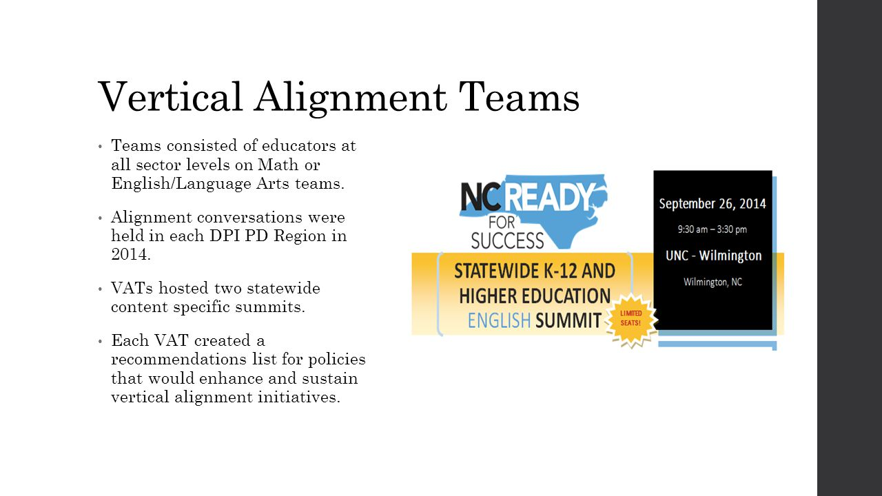 Vertical Alignment Teams Teams consisted of educators at all sector levels on Math or English/Language Arts teams. Alignment conversations were held i