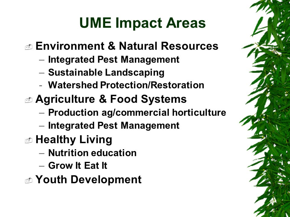 UME Impact Areas  Environment & Natural Resources –Integrated Pest Management –Sustainable Landscaping -Watershed Protection/Restoration  Agricultur