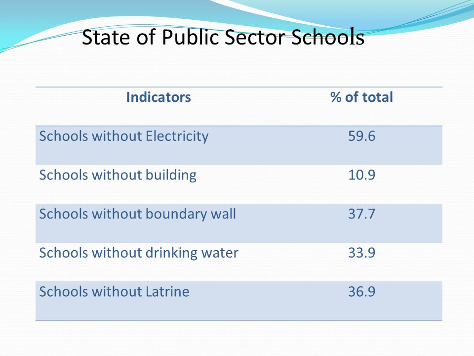 Indicators% of total Schools without Electricity59.6 Schools without building10.9 Schools without boundary wall37.7 Schools without drinking water33.9 Schools without Latrine36.9 State of Public Sector Schools