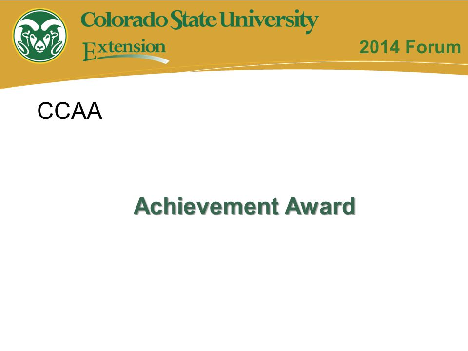 Achievement Award CCAA 2014 Forum