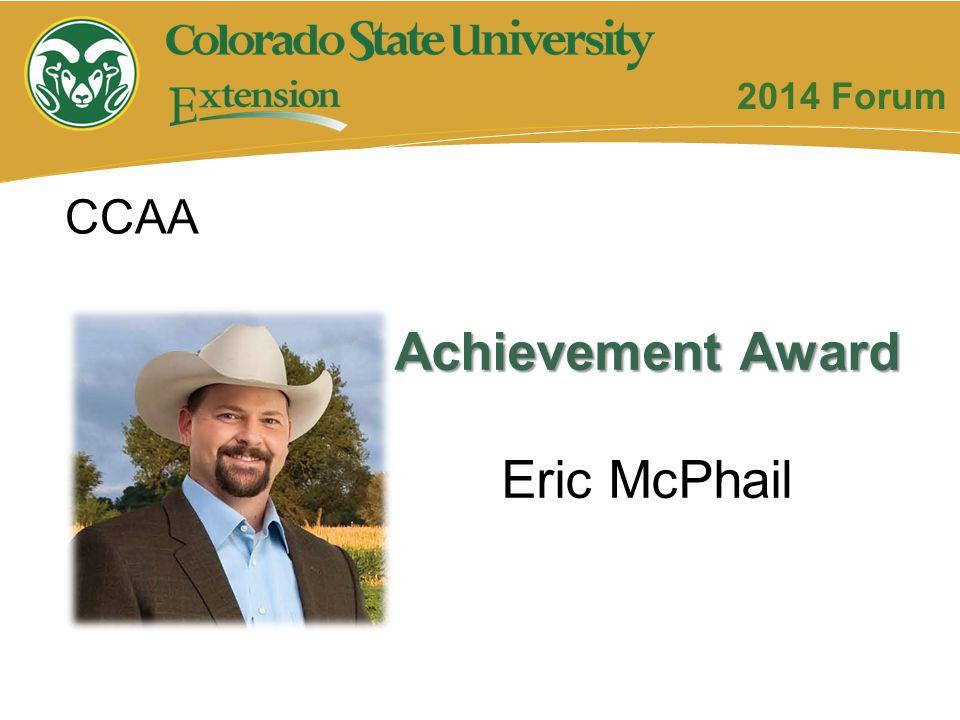 Achievement Award Eric McPhail CCAA 2014 Forum