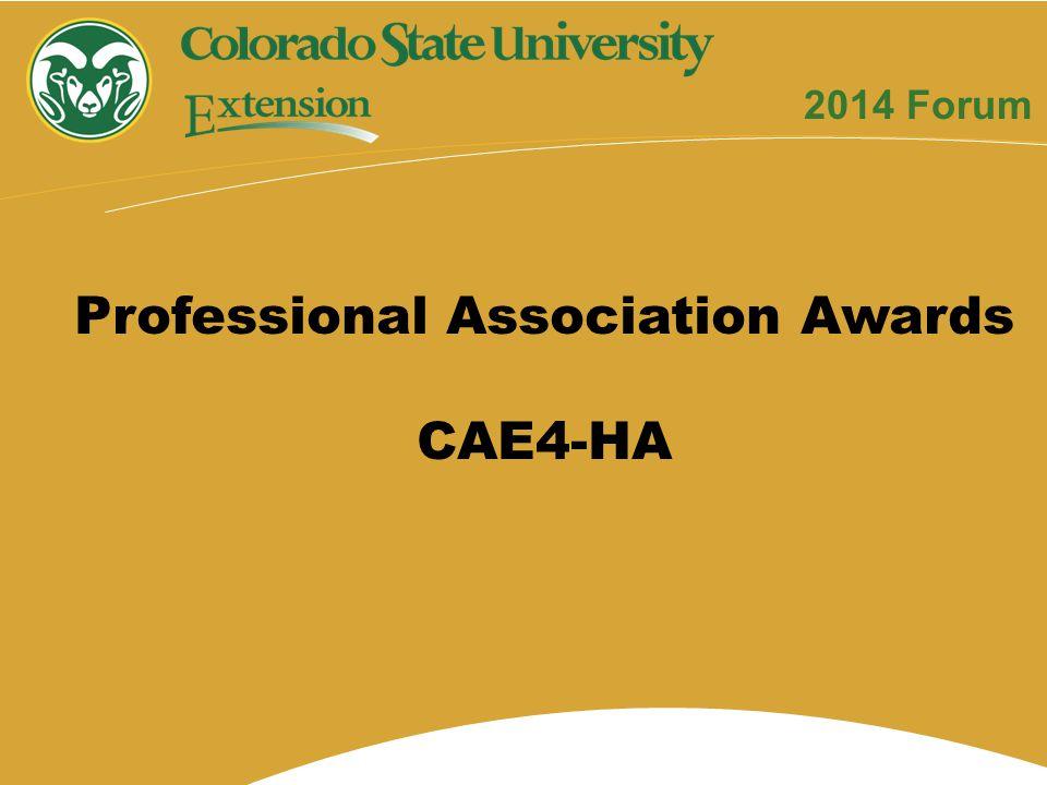 Professional Association Awards CAE4-HA 2014 Forum