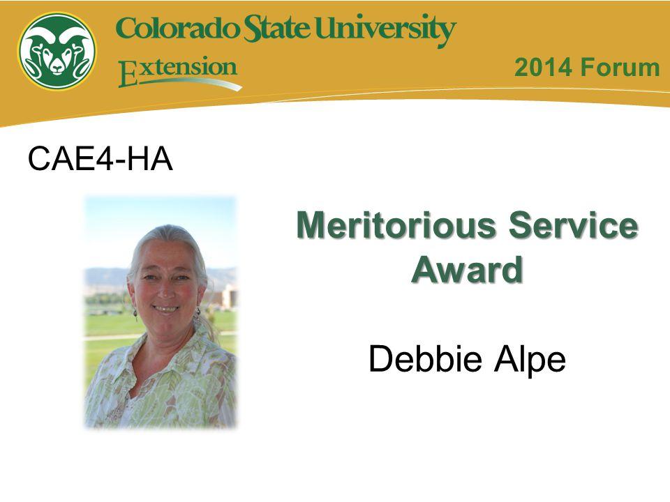 Meritorious Service Award Debbie Alpe CAE4-HA 2014 Forum