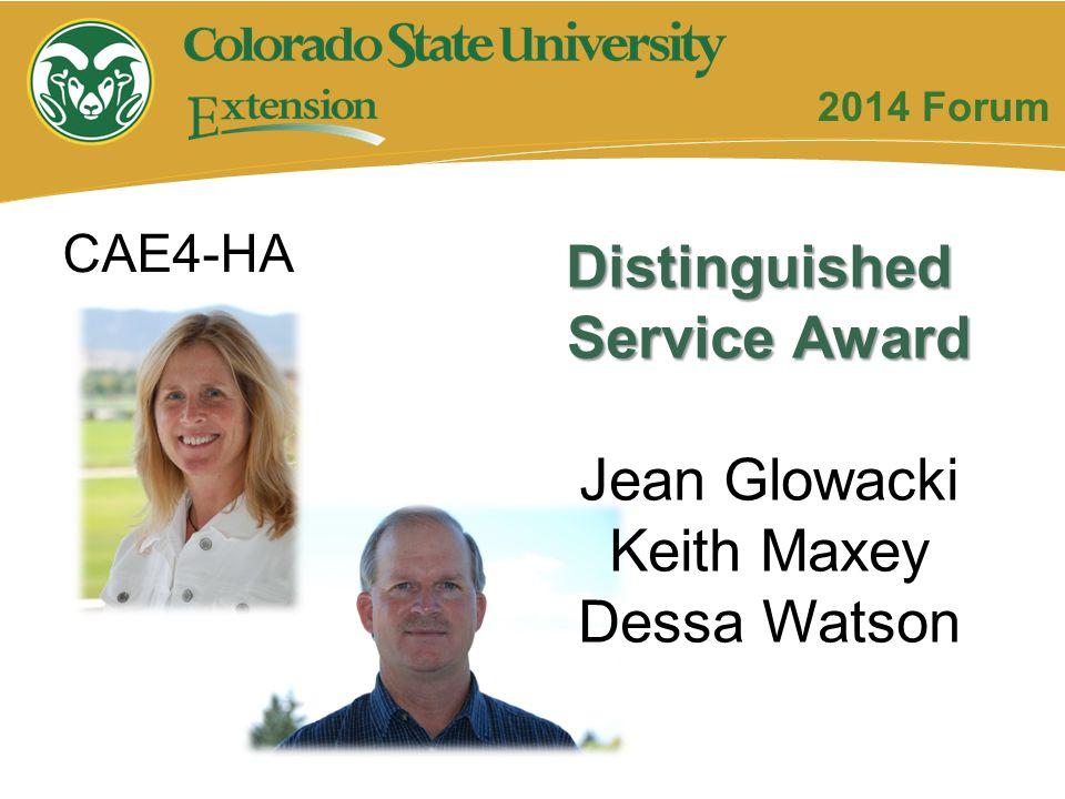 Distinguished Service Award Jean Glowacki Keith Maxey Dessa Watson CAE4-HA 2014 Forum