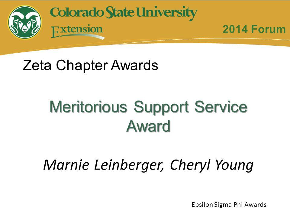 Meritorious Support Service Award Marnie Leinberger, Cheryl Young Zeta Chapter Awards Epsilon Sigma Phi Awards 2014 Forum