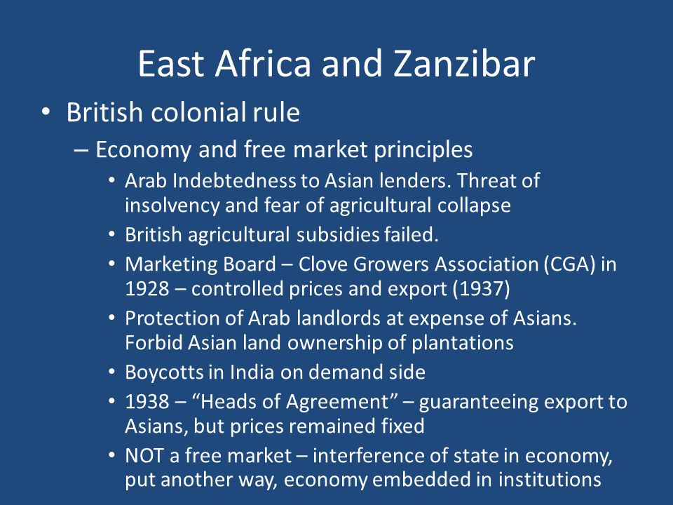 End of African Socialism 1980s – Tanzania in economic ruin – IMF and World Bank impose structural adjustment – Nyerere forced to step down; Ali Hassan Mwinyi handpicked successor – Forced privatization of industries – Nyerere – left Tanzania one of poorest, least developed, and most dependent on foreign aid – Father of the Nation – End of one-party system – first multiple party elections in 1995 – Mkapa to power, followed by Kikwete – Zanzibar – Continued fraught politics and violence Police brutality, arbitrary arrests, treason trial 2000 Elections – 26 demonstrators killed, brought Karume