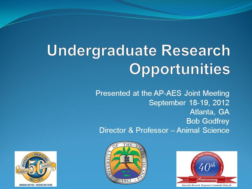 Presented at the AP-AES Joint Meeting September 18-19, 2012 Atlanta, GA Bob Godfrey Director & Professor – Animal Science