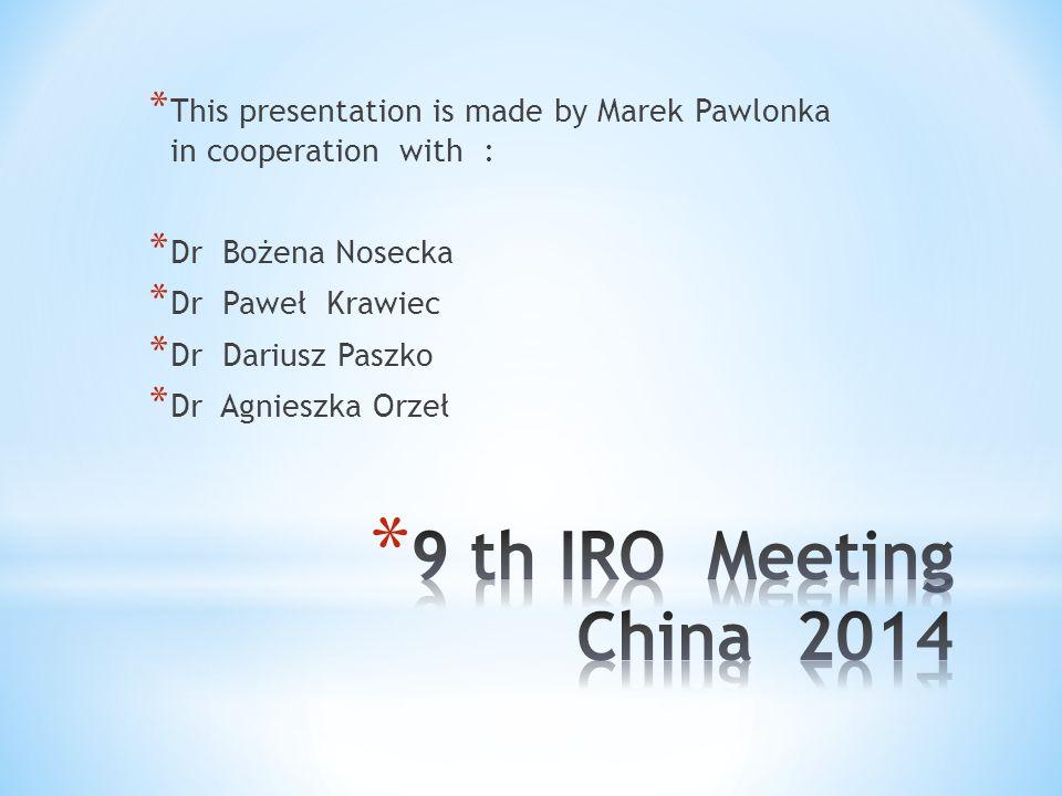 * This presentation is made by Marek Pawlonka in cooperation with : * Dr Bożena Nosecka * Dr Paweł Krawiec * Dr Dariusz Paszko * Dr Agnieszka Orzeł