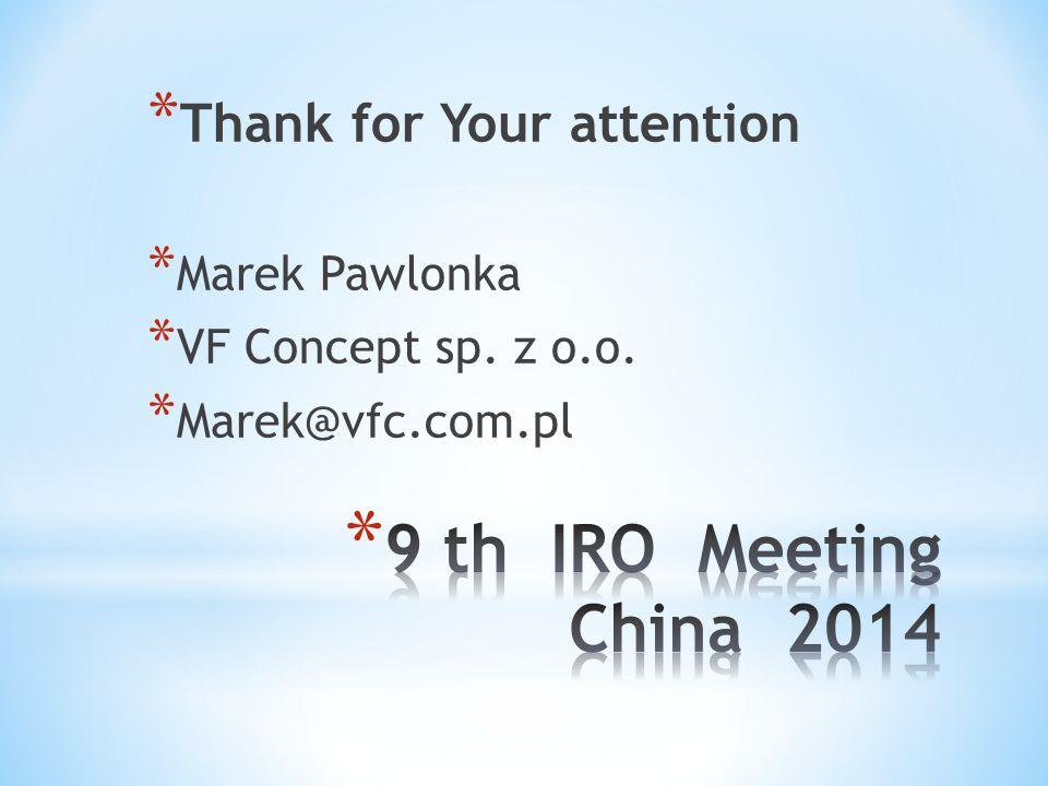 * Thank for Your attention * Marek Pawlonka * VF Concept sp. z o.o. * Marek@vfc.com.pl