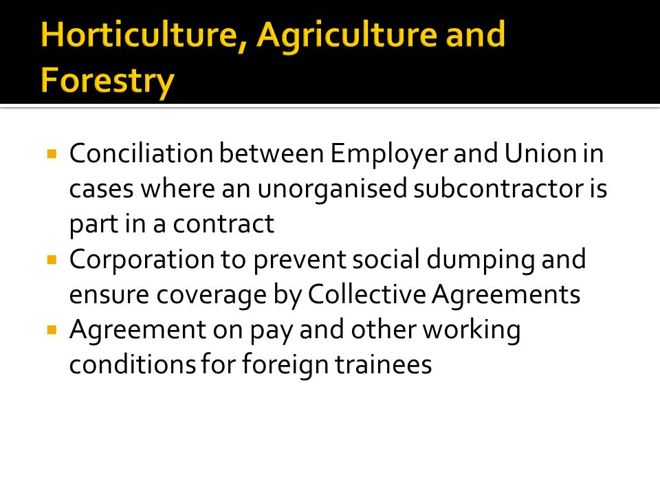  Conciliation between Employer and Union in cases where an unorganised subcontractor is part in a contract  Corporation to prevent social dumping and ensure coverage by Collective Agreements  Agreement on pay and other working conditions for foreign trainees