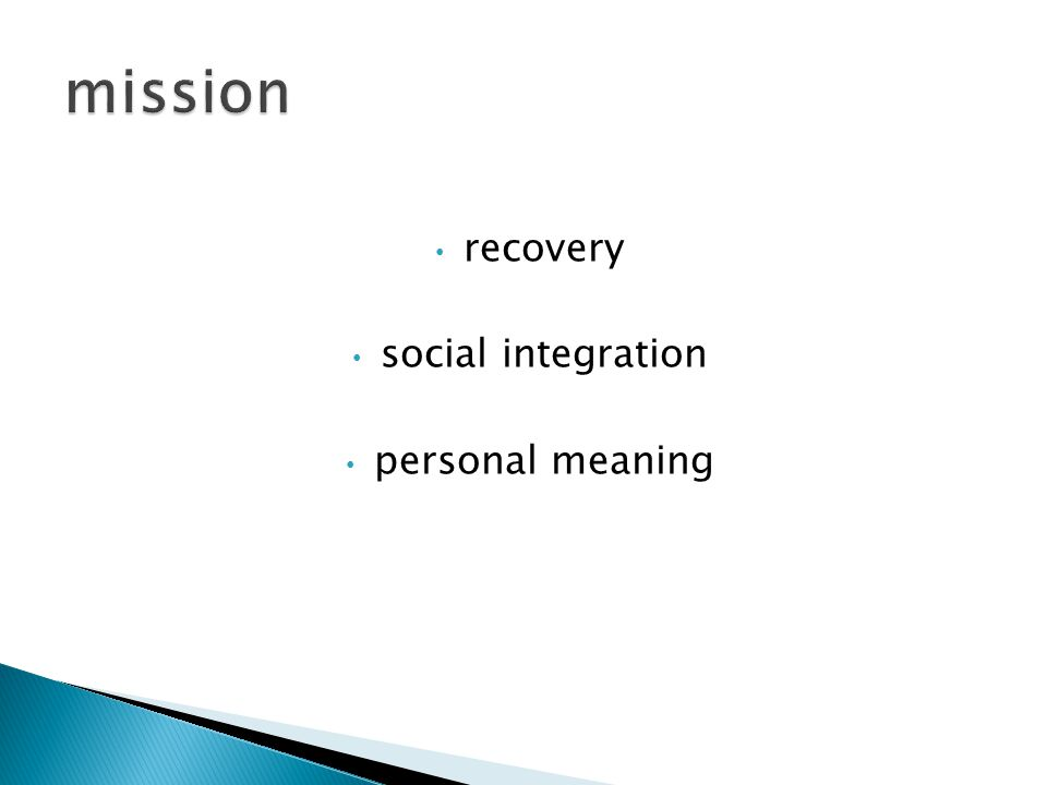 recovery social integration personal meaning