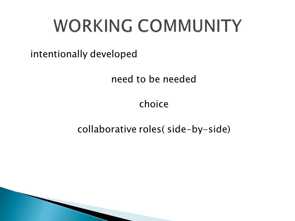 intentionally developed need to be needed choice collaborative roles( side-by-side)