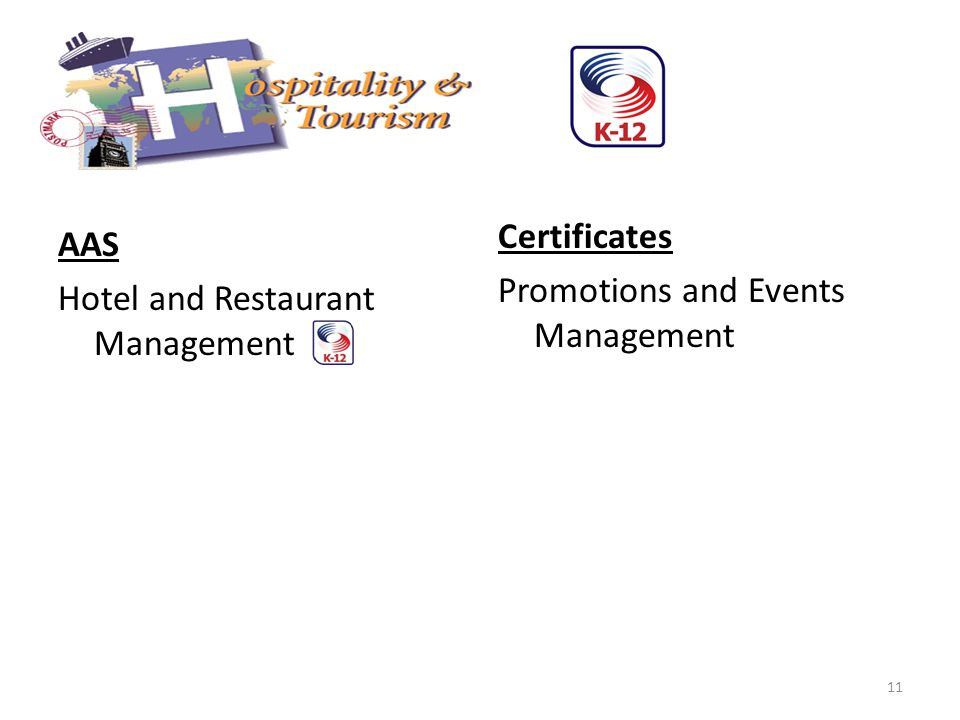 AAS Hotel and Restaurant Management Certificates Promotions and Events Management 11