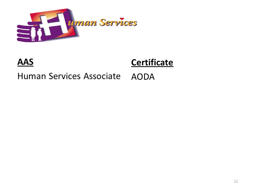 AAS Human Services Associate Certificate AODA 12