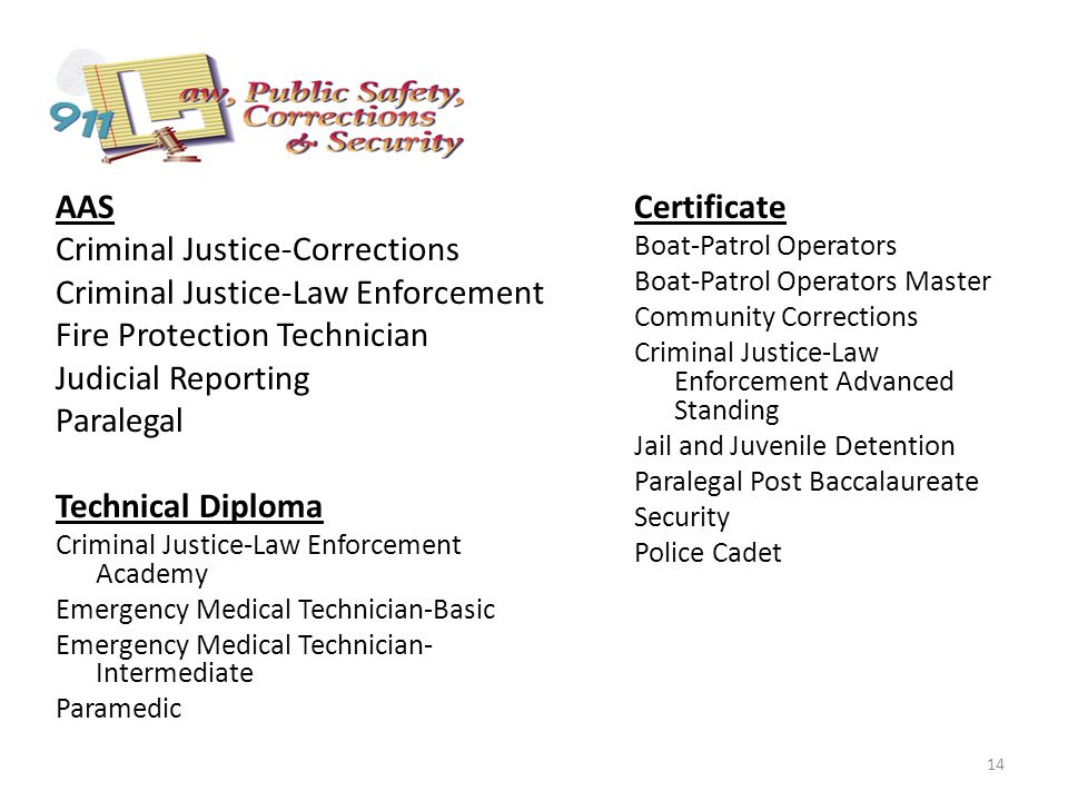 AAS Criminal Justice-Corrections Criminal Justice-Law Enforcement Fire Protection Technician Judicial Reporting Paralegal Technical Diploma Criminal Justice-Law Enforcement Academy Emergency Medical Technician-Basic Emergency Medical Technician- Intermediate Paramedic Certificate Boat-Patrol Operators Boat-Patrol Operators Master Community Corrections Criminal Justice-Law Enforcement Advanced Standing Jail and Juvenile Detention Paralegal Post Baccalaureate Security Police Cadet 14