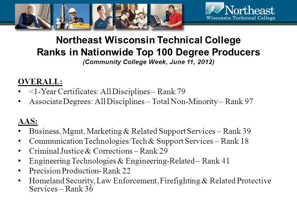 Northeast Wisconsin Technical College Ranks in Nationwide Top 100 Degree Producers (Community College Week, June 11, 2012) OVERALL: <1-Year Certificates: All Disciplines – Rank 79 Associate Degrees: All Disciplines – Total Non-Minority – Rank 97 AAS: Business, Mgmt, Marketing & Related Support Services – Rank 39 Communication Technologies/Tech & Support Services – Rank 18 Criminal Justice & Corrections – Rank 29 Engineering Technologies & Engineering-Related – Rank 41 Precision Production- Rank 22 Homeland Security, Law Enforcement, Firefighting & Related Protective Services – Rank 36