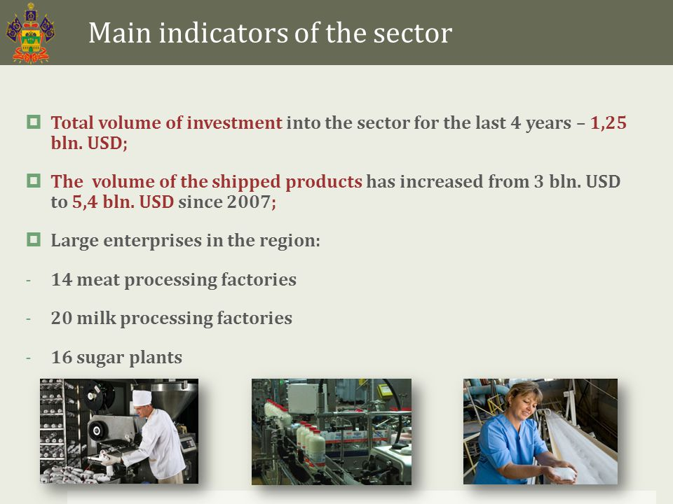 Main indicators of the sector  Total volume of investment into the sector for the last 4 years – 1,25 bln.
