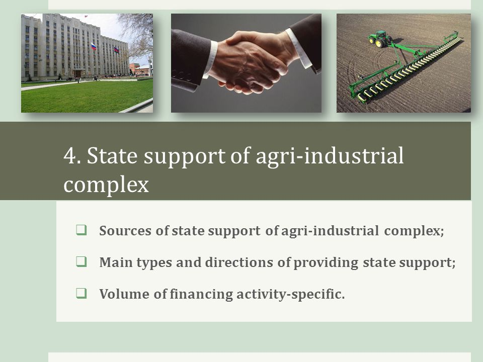 4. State support of agri-industrial complex  Sources of state support of agri-industrial complex;  Main types and directions of providing state supp