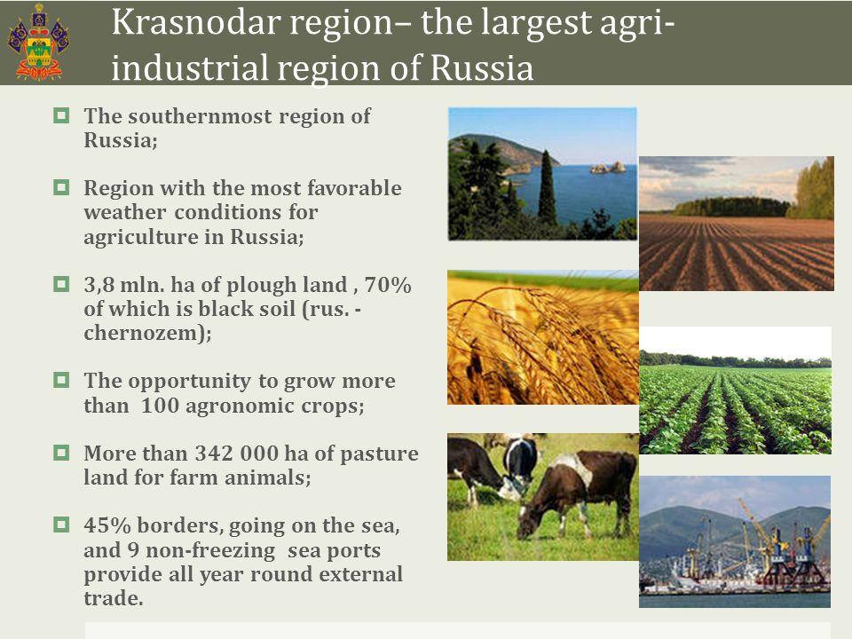Structure of agricultural land of Krasnodar region  Total area of agricultural land of the region exceeds 4,2 mln.