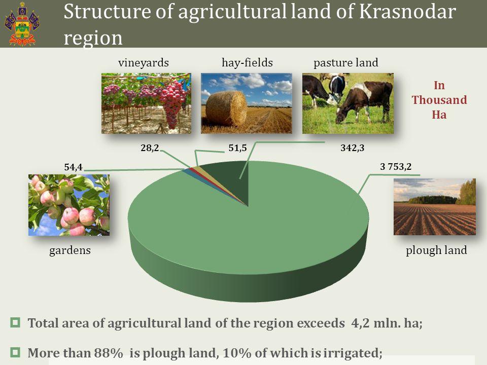 Structure of agricultural land of Krasnodar region  Total area of agricultural land of the region exceeds 4,2 mln. ha;  More than 88% is plough land