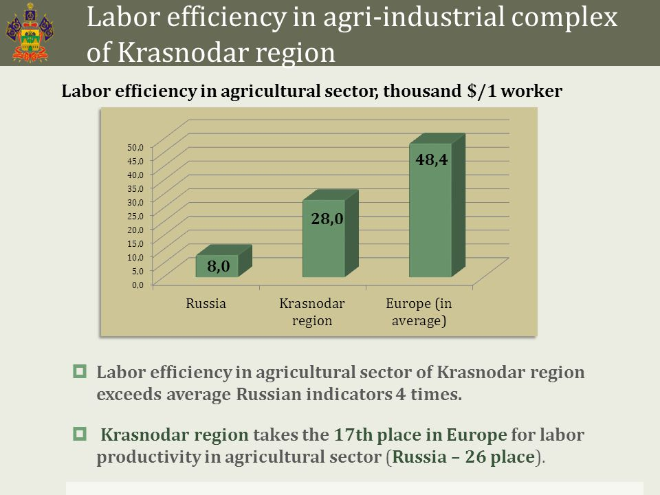 Main risks for investors into agri-industrial complex Undeveloped social infrastructure of a village; Low level of awareness of workers in agri-industrial complex about advanced technologies of management Weak logistics in agricultural sector Change of tax legislation; Change of conditions and volumes of state support; Drawbacks of integration into the global economy (including entrance of the Russian Federation into the WTO) Decrease (loss) or increase (excess production) of harvest in connection with natural anomaly Change of market prices for the products; Increase of prime cost in connection with a rise in energy resources cost; Change of interest rates in financial institutions.