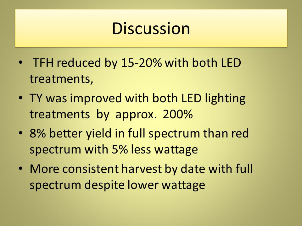 Discussion TFH reduced by 15-20% with both LED treatments, TY was improved with both LED lighting treatments by approx.