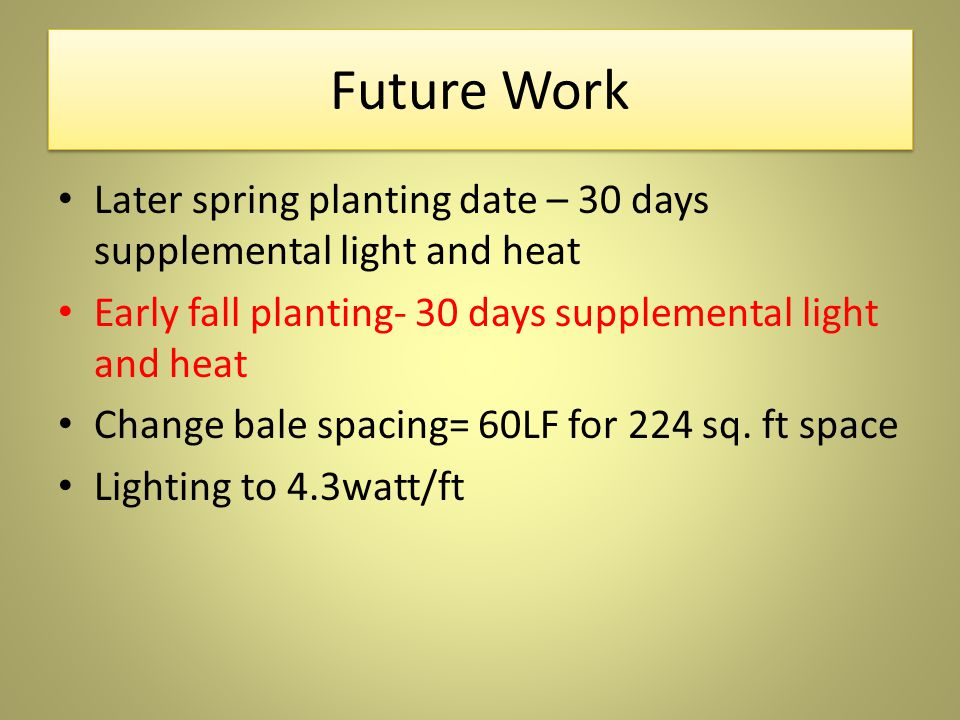 Future Work Later spring planting date – 30 days supplemental light and heat Early fall planting- 30 days supplemental light and heat Change bale spacing= 60LF for 224 sq.