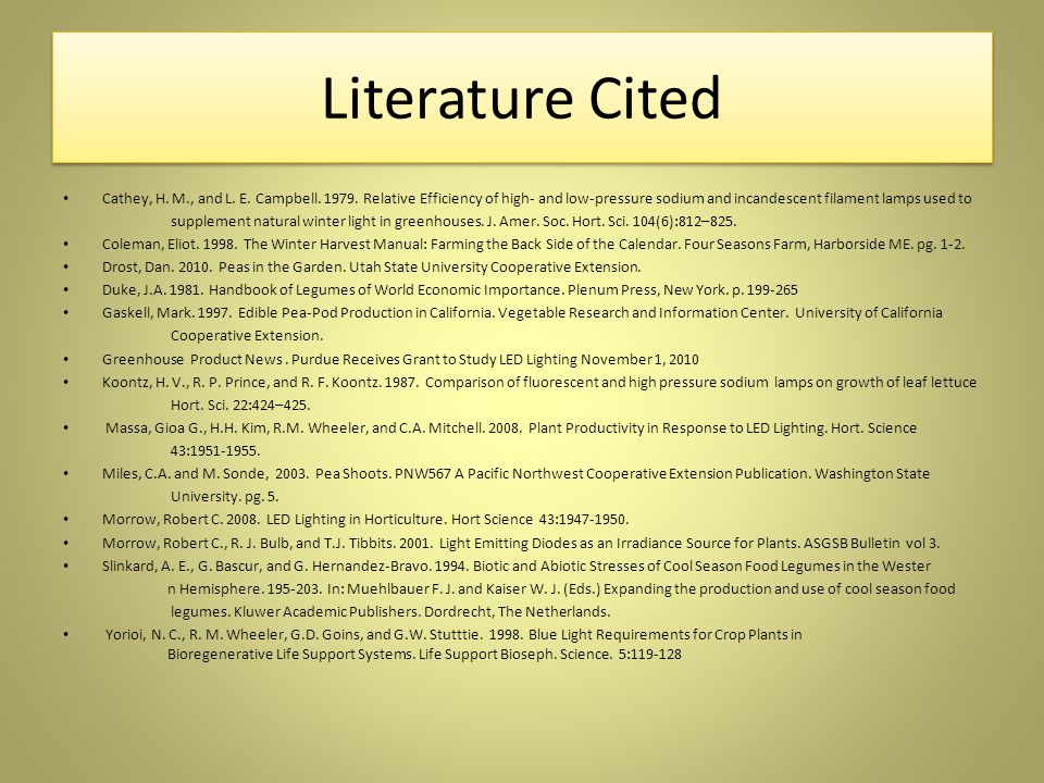 Literature Cited Cathey, H.M., and L. E. Campbell.
