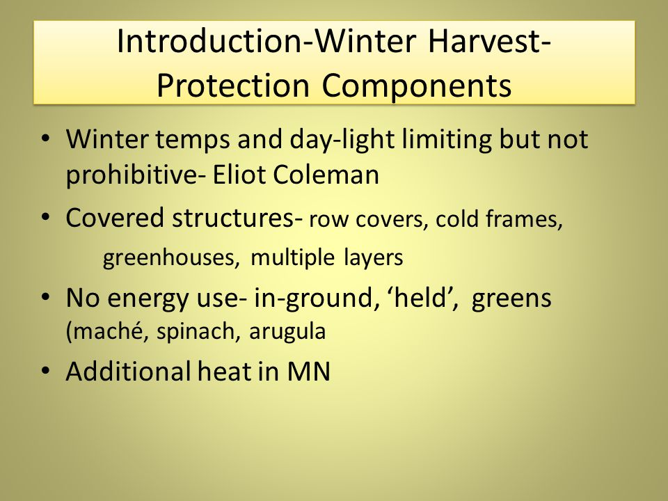 Introduction-Winter Harvest- Protection Components Winter temps and day-light limiting but not prohibitive- Eliot Coleman Covered structures- row covers, cold frames, greenhouses, multiple layers No energy use- in-ground, 'held', greens (maché, spinach, arugula Additional heat in MN