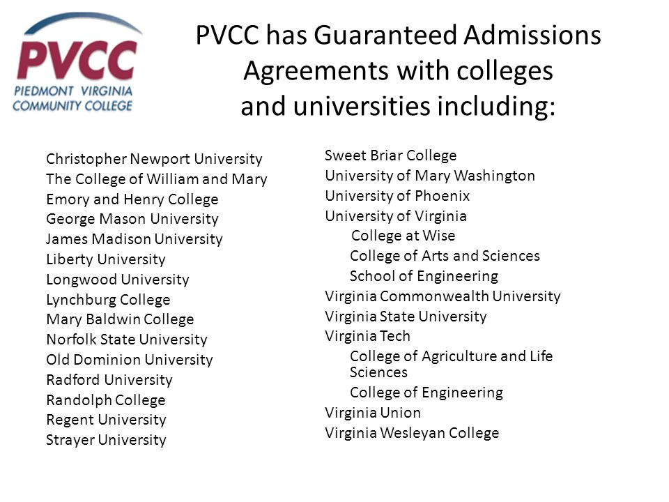 PVCC has Guaranteed Admissions Agreements with colleges and universities including: Christopher Newport University The College of William and Mary Emory and Henry College George Mason University James Madison University Liberty University Longwood University Lynchburg College Mary Baldwin College Norfolk State University Old Dominion University Radford University Randolph College Regent University Strayer University Sweet Briar College University of Mary Washington University of Phoenix University of Virginia College at Wise College of Arts and Sciences School of Engineering Virginia Commonwealth University Virginia State University Virginia Tech College of Agriculture and Life Sciences College of Engineering Virginia Union Virginia Wesleyan College