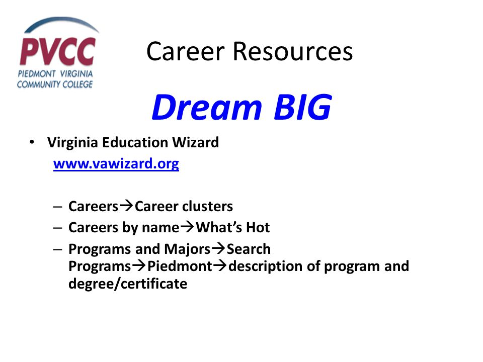 Career Resources Dream BIG Virginia Education Wizard www.vawizard.org – Careers  Career clusters – Careers by name  What's Hot – Programs and Majors  Search Programs  Piedmont  description of program and degree/certificate