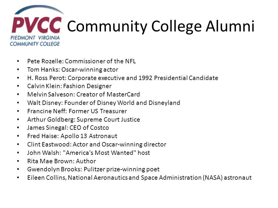 Community College Alumni Pete Rozelle: Commissioner of the NFL Tom Hanks: Oscar-winning actor H.