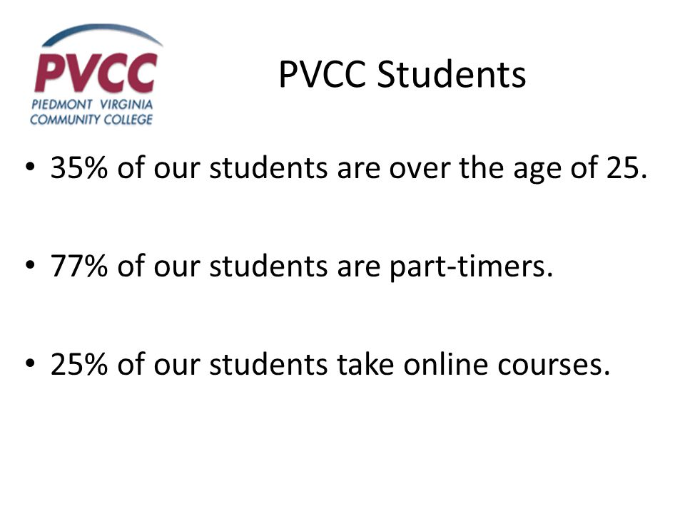 PVCC Students 35% of our students are over the age of 25. 77% of our students are part-timers. 25% of our students take online courses.