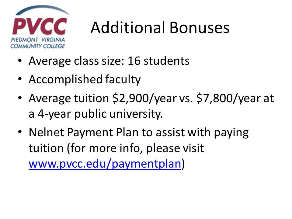 Additional Bonuses Average class size: 16 students Accomplished faculty Average tuition $2,900/year vs.