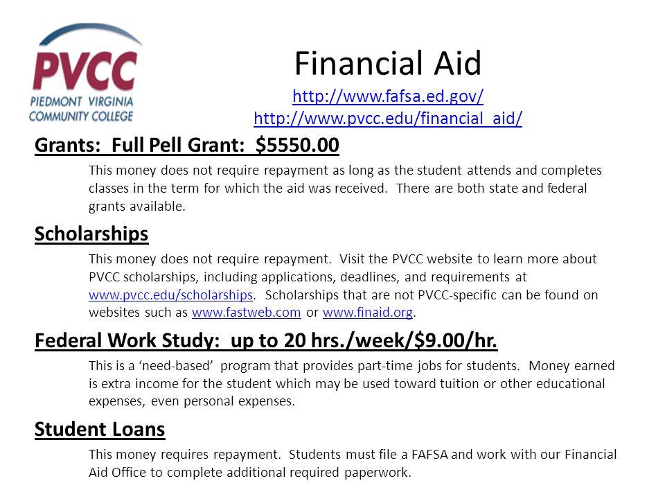 Financial Aid http://www.fafsa.ed.gov/ http://www.pvcc.edu/financial_aid/ http://www.fafsa.ed.gov/ http://www.pvcc.edu/financial_aid/ Grants: Full Pel