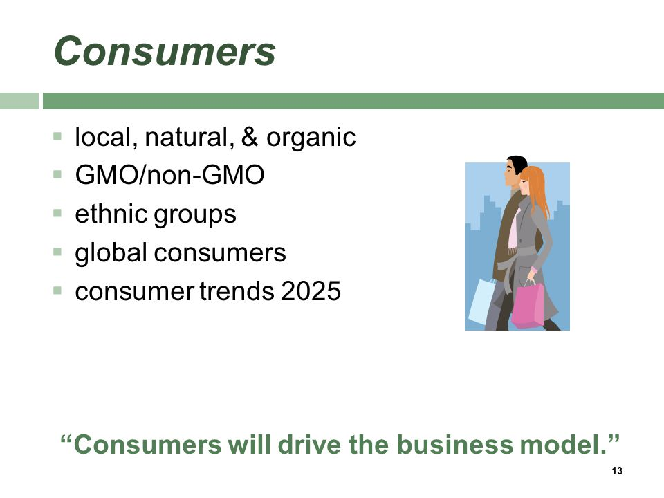 Consumers  local, natural, & organic  GMO/non-GMO  ethnic groups  global consumers  consumer trends 2025 Consumers will drive the business model. 13