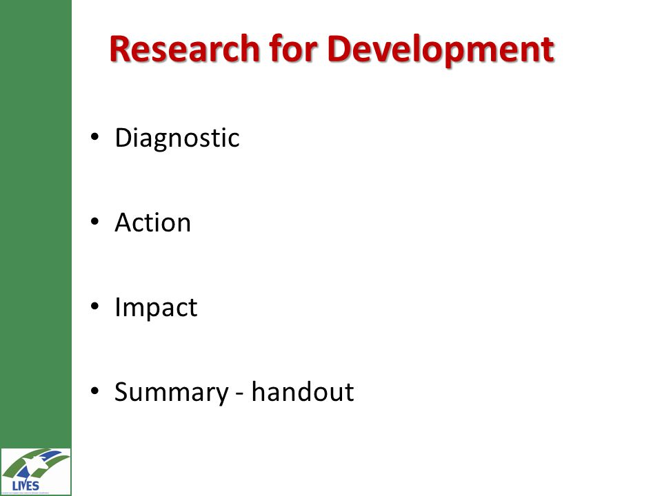 Research for Development Diagnostic Action Impact Summary - handout
