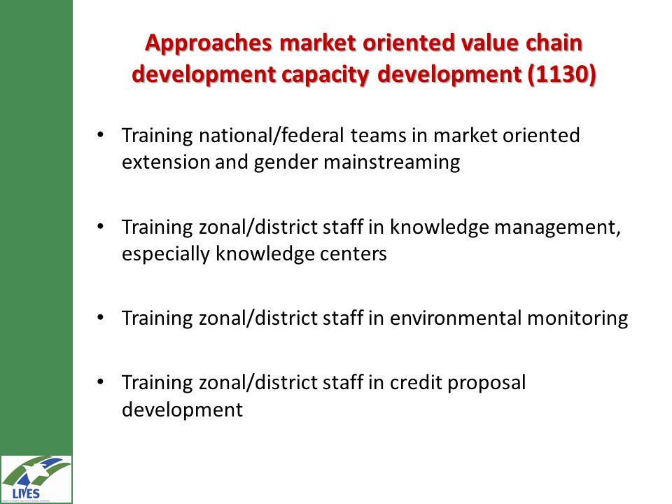 Approaches market oriented value chain development capacity development (1130) Training national/federal teams in market oriented extension and gender mainstreaming Training zonal/district staff in knowledge management, especially knowledge centers Training zonal/district staff in environmental monitoring Training zonal/district staff in credit proposal development