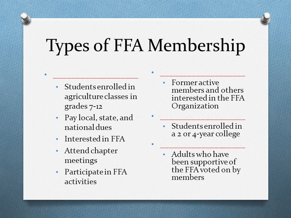 Types of FFA Membership ___________________ Students enrolled in agriculture classes in grades 7-12 Pay local, state, and national dues Interested in