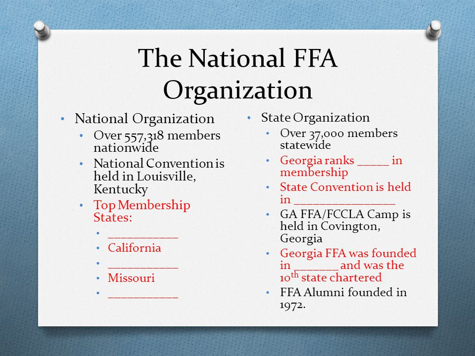The National FFA Organization National Organization Over 557,318 members nationwide National Convention is held in Louisville, Kentucky Top Membership