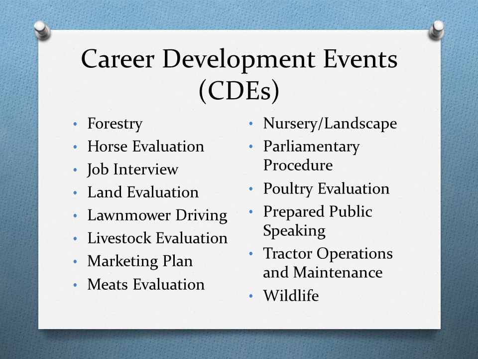 Career Development Events (CDEs) Forestry Horse Evaluation Job Interview Land Evaluation Lawnmower Driving Livestock Evaluation Marketing Plan Meats E