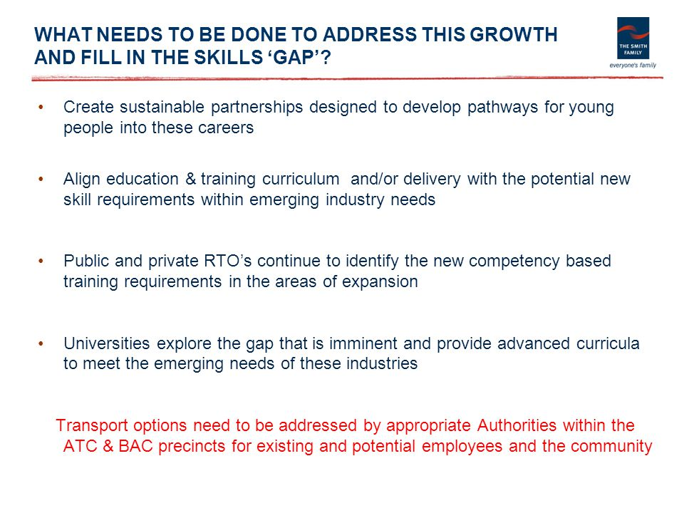 WHAT NEEDS TO BE DONE TO ADDRESS THIS GROWTH AND FILL IN THE SKILLS 'GAP'? Create sustainable partnerships designed to develop pathways for young peop