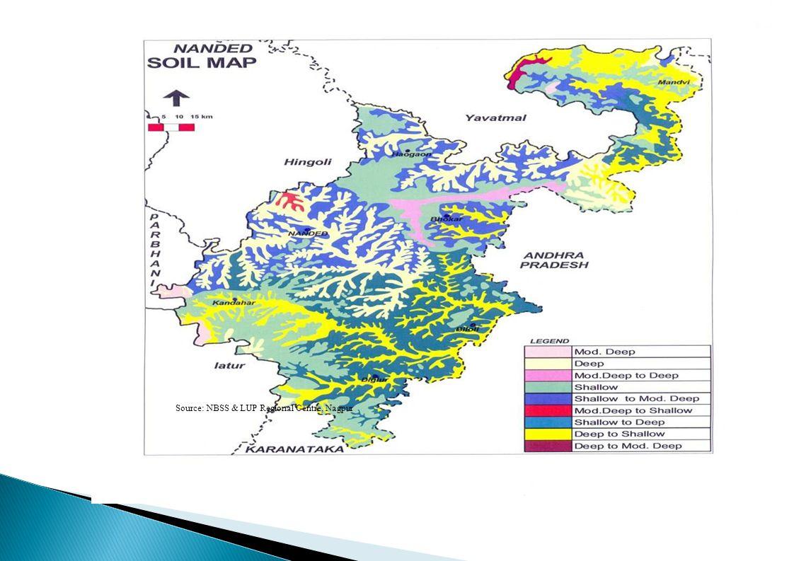 Irrigation Sources of Irrigation Area (ha) Net cultivated area711.0 Net Irrigated area112.0 Area (ha) Canals (Upper Penganga, Purna and Manar projects) 34.4 Open wells22.0 Bore wells25000 (Numbers) Lift irrigation scheme (Vishnupuri) 14.7 Other sources (Farm ponds)4.76