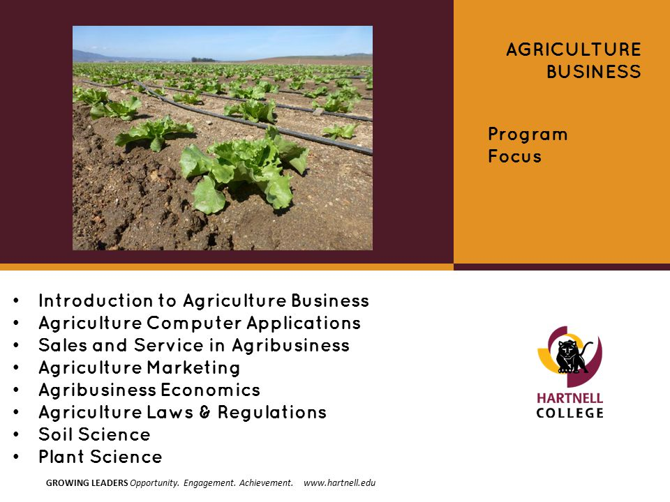 Introduction to Agriculture Business Agriculture Computer Applications Sales and Service in Agribusiness Agriculture Marketing Agribusiness Economics Agriculture Laws & Regulations Soil Science Plant Science AGRICULTURE BUSINESS Program Focus