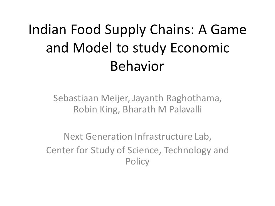 Validation Game is a work in progress Structure of the underlying ABM based on primary data collected in mandis around Bangalore Processes used by agents derived from interviews and various government regulations Varied supply chain structures mean it can be validated only within a particular context
