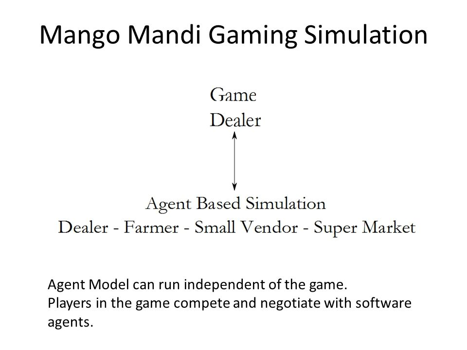 Mango Mandi Gaming Simulation Agent Model can run independent of the game.