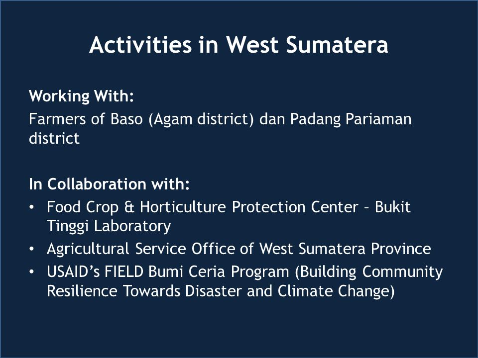 Activities in West Sumatera Working With: Farmers of Baso (Agam district) dan Padang Pariaman district In Collaboration with: Food Crop & Horticulture Protection Center – Bukit Tinggi Laboratory Agricultural Service Office of West Sumatera Province USAID's FIELD Bumi Ceria Program (Building Community Resilience Towards Disaster and Climate Change)