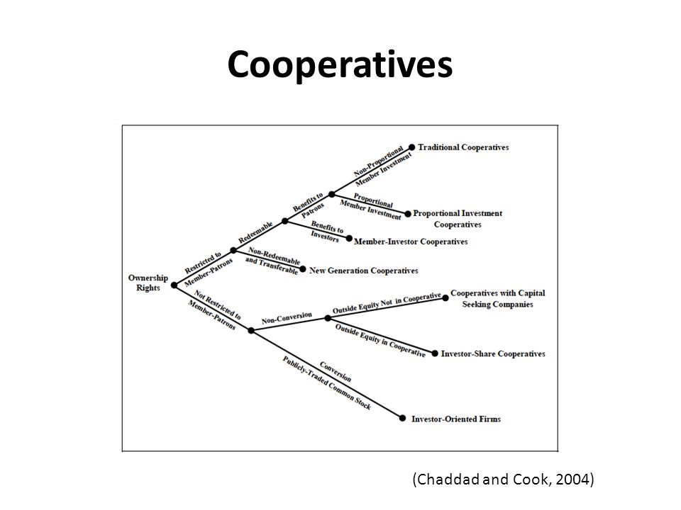 Cooperatives (Chaddad and Cook, 2004)